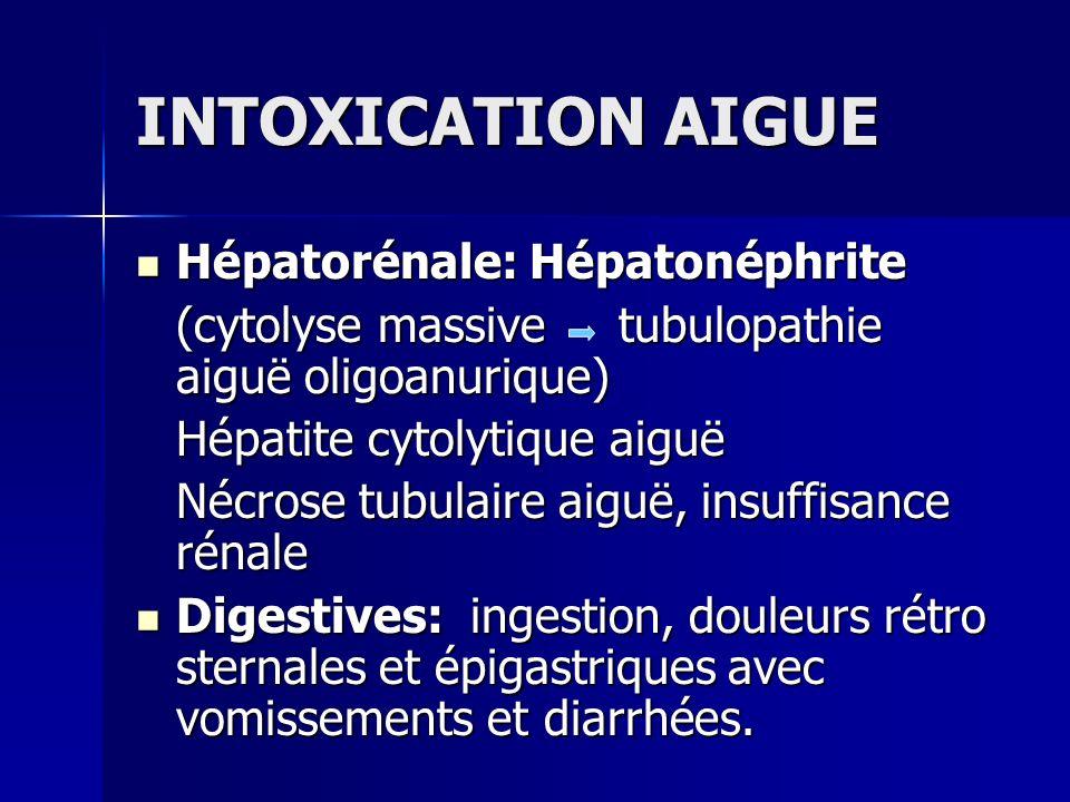 INTOXICATION AIGUE Hépatorénale: Hépatonéphrite Hépatorénale: Hépatonéphrite (cytolyse massive tubulopathie aiguë oligoanurique) Hépatite cytolytique
