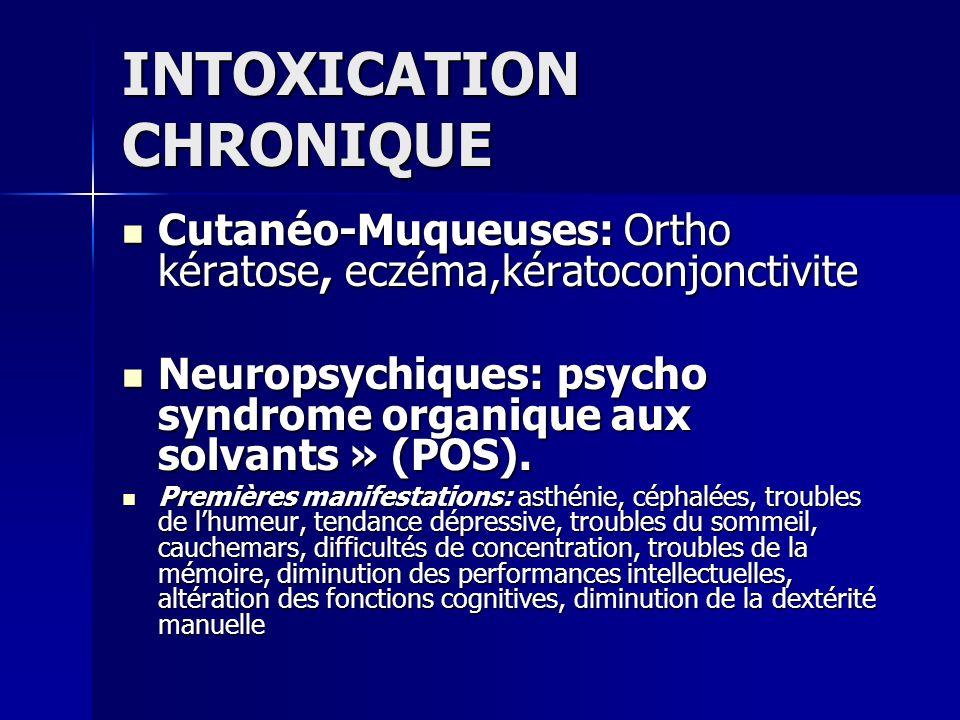 INTOXICATION CHRONIQUE Cutanéo-Muqueuses: Ortho kératose, eczéma,kératoconjonctivite Cutanéo-Muqueuses: Ortho kératose, eczéma,kératoconjonctivite Neu