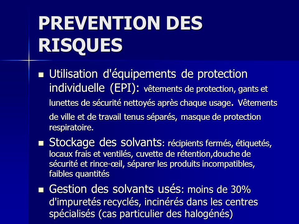 PREVENTION DES RISQUES Utilisation d'équipements de protection individuelle (EPI): vêtements de protection, gants et lunettes de sécurité nettoyés apr