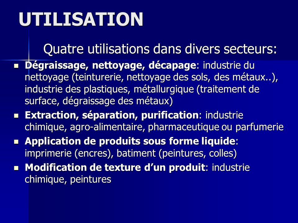 UTILISATION Quatre utilisations dans divers secteurs: Dégraissage, nettoyage, décapage: industrie du nettoyage (teinturerie, nettoyage des sols, des m