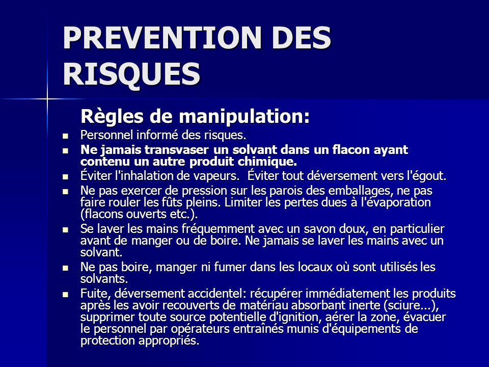 PREVENTION DES RISQUES Règles de manipulation: Personnel informé des risques. Personnel informé des risques. Ne jamais transvaser un solvant dans un f