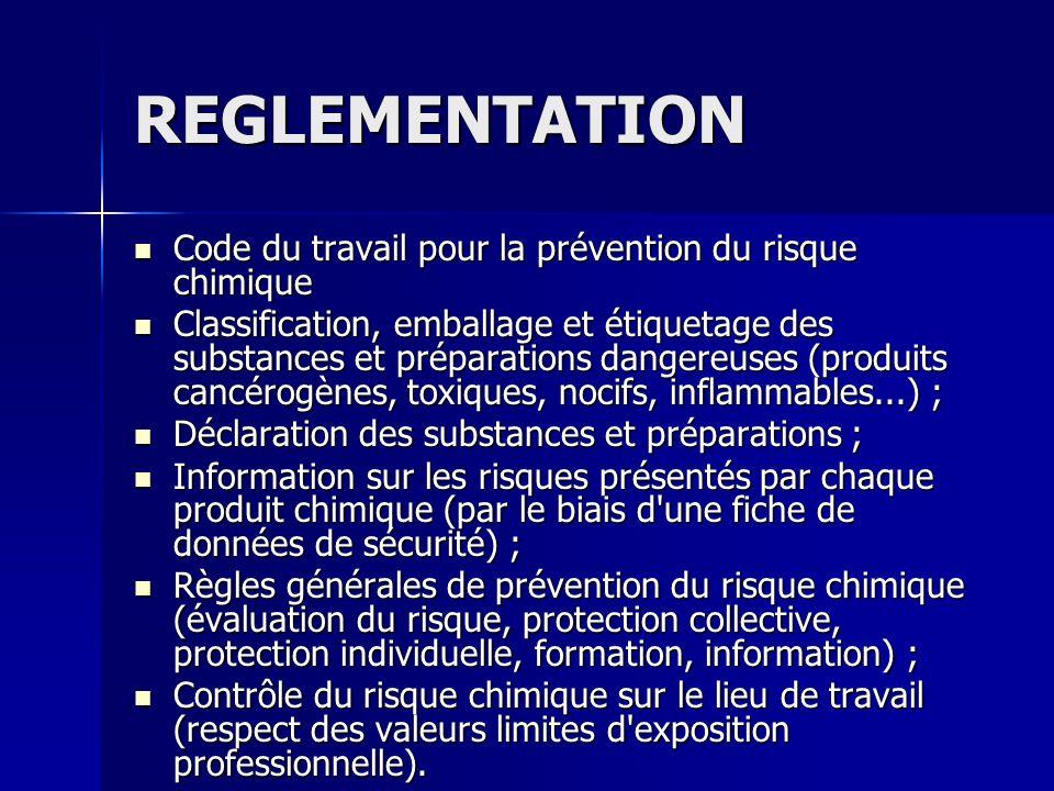 REGLEMENTATION Code du travail pour la prévention du risque chimique Code du travail pour la prévention du risque chimique Classification, emballage e