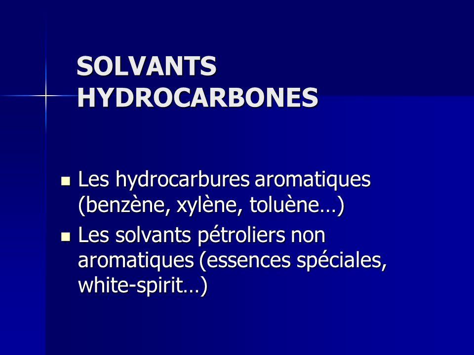 SOLVANTS HYDROCARBONES Les hydrocarbures aromatiques (benzène, xylène, toluène…) Les hydrocarbures aromatiques (benzène, xylène, toluène…) Les solvant