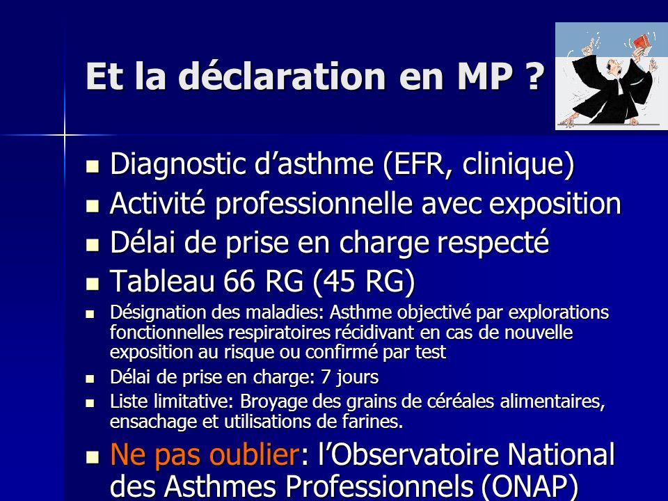 Et la déclaration en MP ? Diagnostic dasthme (EFR, clinique) Diagnostic dasthme (EFR, clinique) Activité professionnelle avec exposition Activité prof