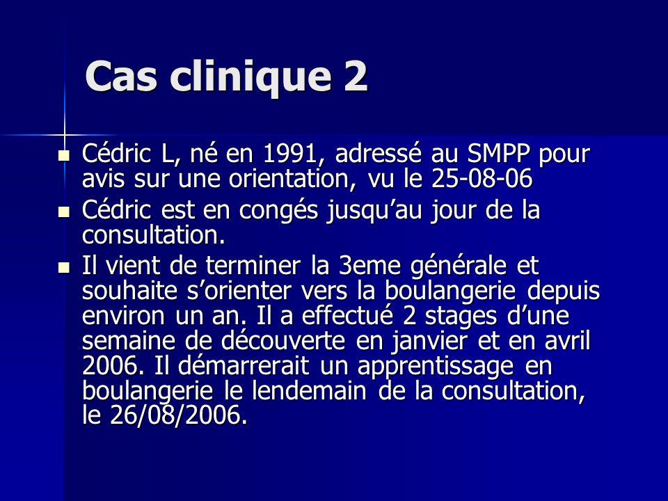 Cas clinique 2 Cédric L, né en 1991, adressé au SMPP pour avis sur une orientation, vu le 25-08-06 Cédric L, né en 1991, adressé au SMPP pour avis sur