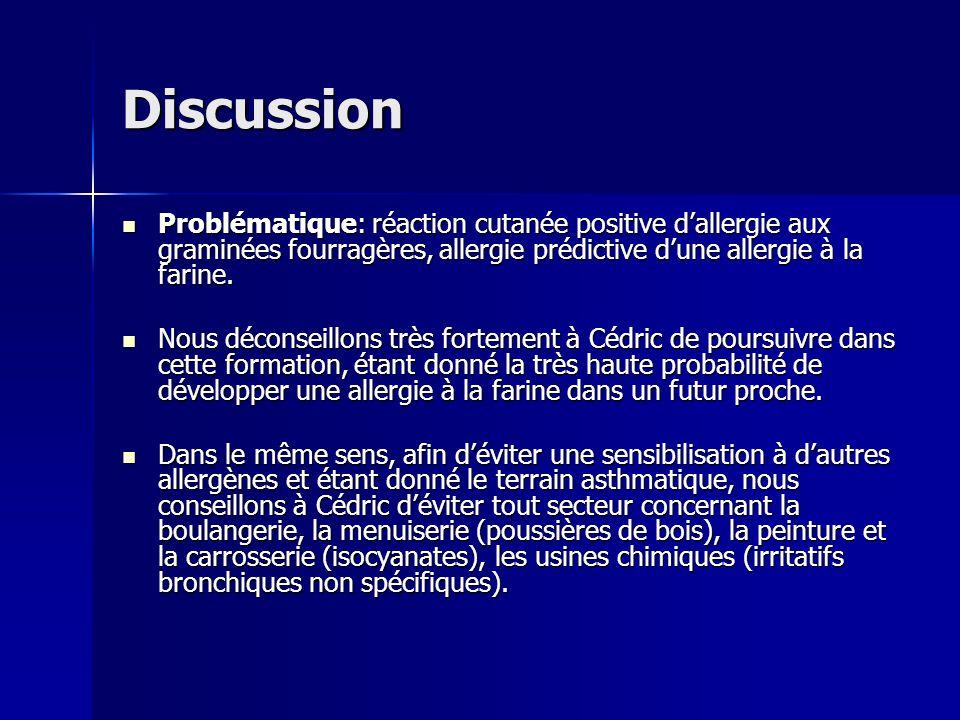 Discussion Problématique: réaction cutanée positive dallergie aux graminées fourragères, allergie prédictive dune allergie à la farine. Problématique: