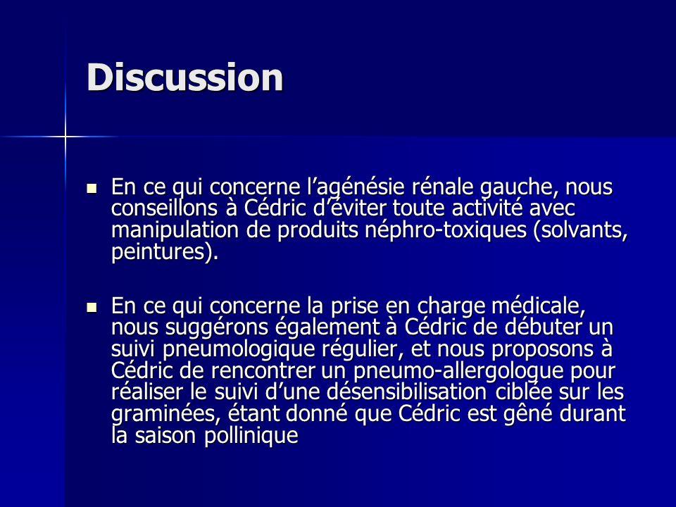 Discussion En ce qui concerne lagénésie rénale gauche, nous conseillons à Cédric déviter toute activité avec manipulation de produits néphro-toxiques
