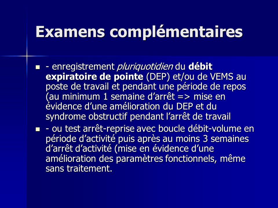 Examens complémentaires - enregistrement pluriquotidien du débit expiratoire de pointe (DEP) et/ou de VEMS au poste de travail et pendant une période