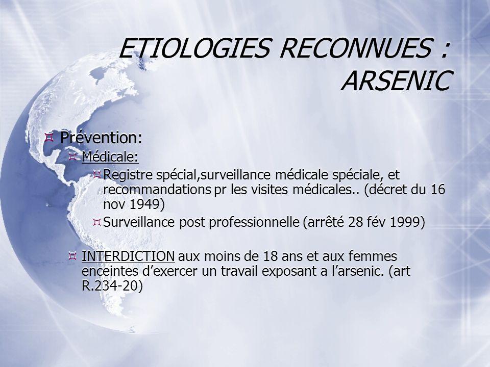 ETIOLOGIES RECONNUES : ARSENIC Prévention: Médicale: Registre spécial,surveillance médicale spéciale, et recommandations pr les visites médicales..