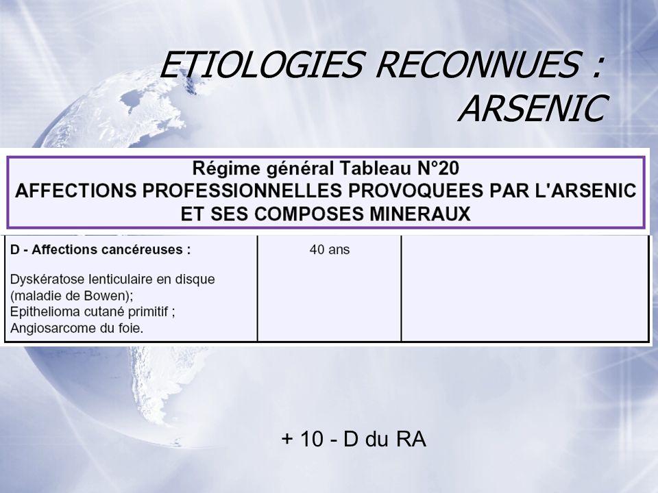 ETIOLOGIES RECONNUES : ARSENIC + 10 - D du RA