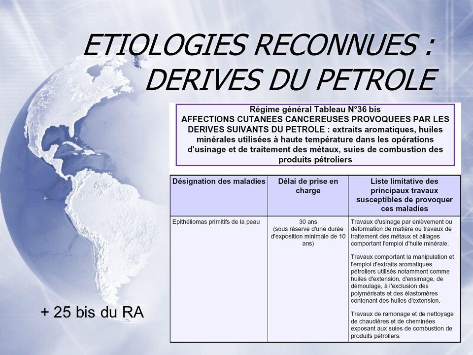 ETIOLOGIES RECONNUES : DERIVES DU PETROLE + 25 bis du RA