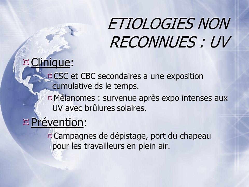 ETIOLOGIES NON RECONNUES : UV Clinique: CSC et CBC secondaires a une exposition cumulative ds le temps.