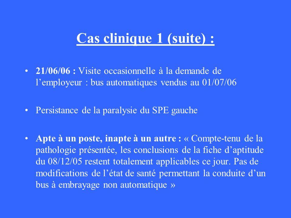 Cas clinique 1 (suite) : 21/06/06 : Visite occasionnelle à la demande de lemployeur : bus automatiques vendus au 01/07/06 Persistance de la paralysie
