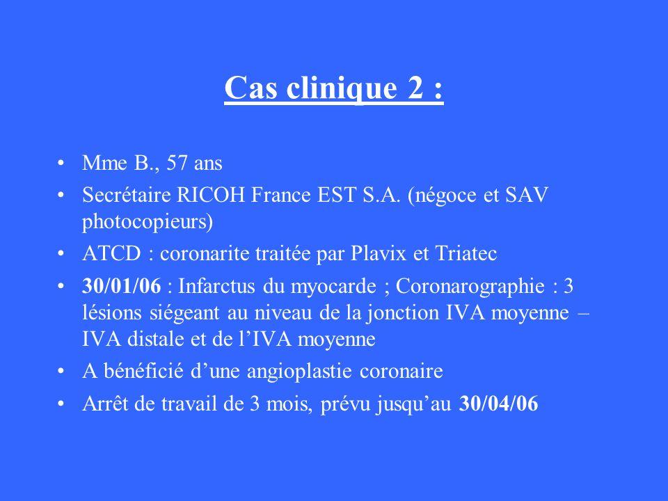 Cas clinique 2 : Mme B., 57 ans Secrétaire RICOH France EST S.A. (négoce et SAV photocopieurs) ATCD : coronarite traitée par Plavix et Triatec 30/01/0