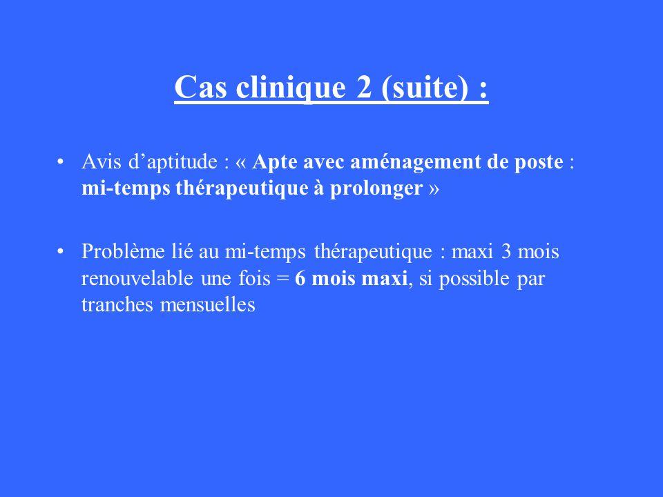 Cas clinique 2 (suite) : Avis daptitude : « Apte avec aménagement de poste : mi-temps thérapeutique à prolonger » Problème lié au mi-temps thérapeutiq