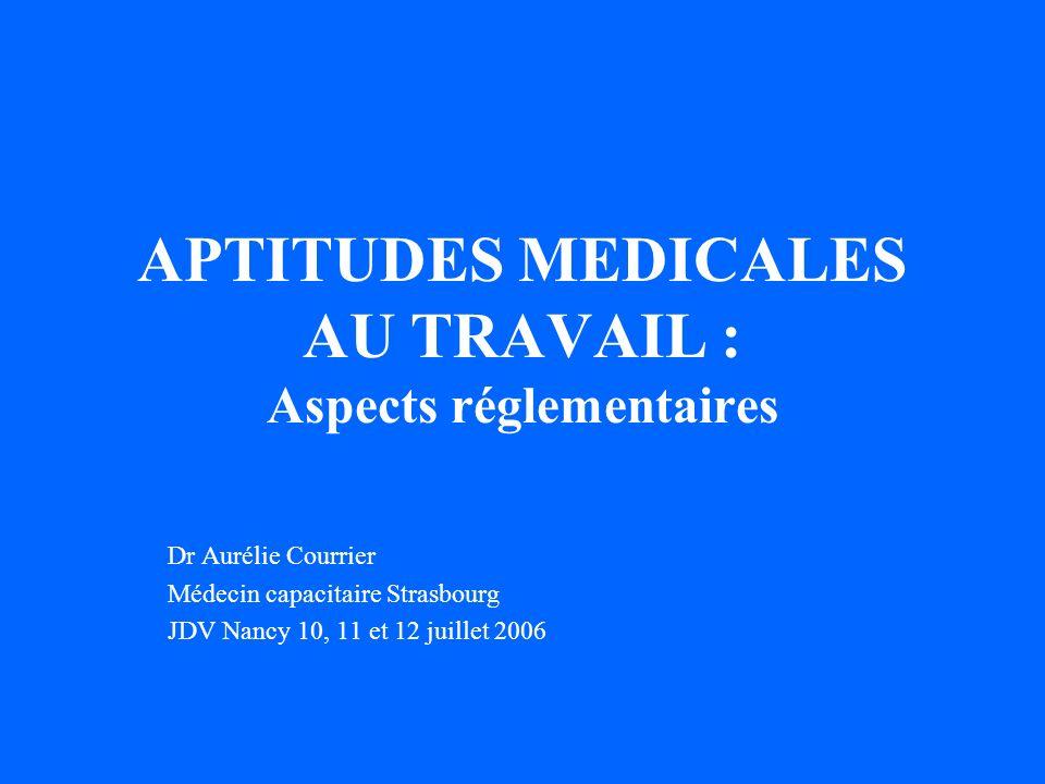 APTITUDES MEDICALES AU TRAVAIL : Aspects réglementaires Dr Aurélie Courrier Médecin capacitaire Strasbourg JDV Nancy 10, 11 et 12 juillet 2006