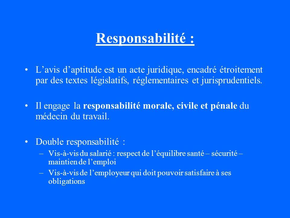 Responsabilité : Lavis daptitude est un acte juridique, encadré étroitement par des textes législatifs, réglementaires et jurisprudentiels. Il engage