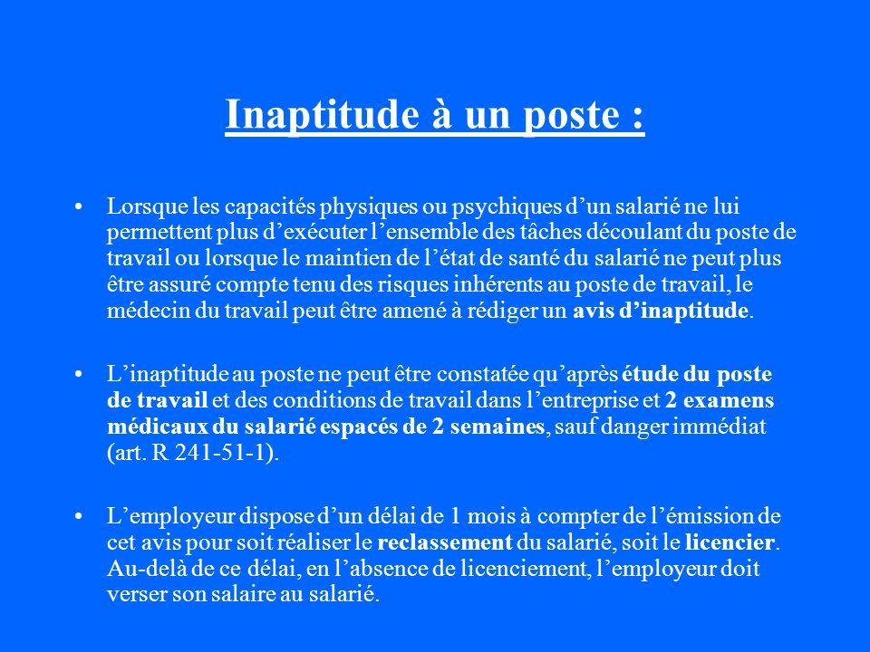 Conclusion : En matière daptitude et dinaptitude, la responsabilité professionnelle, morale et juridique, pénale et civile du médecin du travail est considérable.