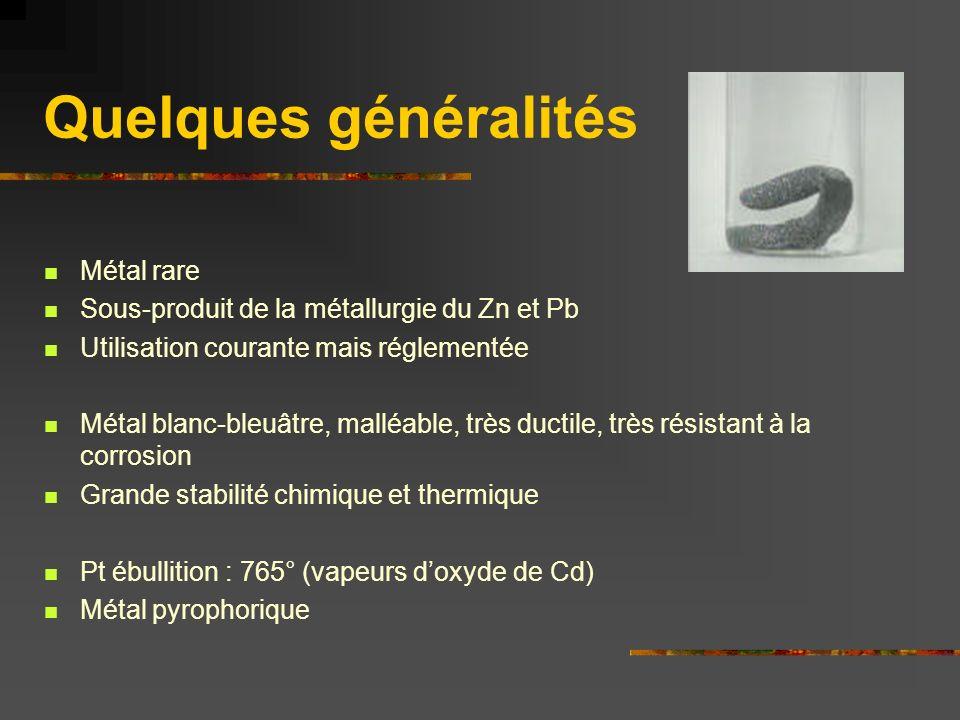 Quelques généralités Métal rare Sous-produit de la métallurgie du Zn et Pb Utilisation courante mais réglementée Métal blanc-bleuâtre, malléable, très
