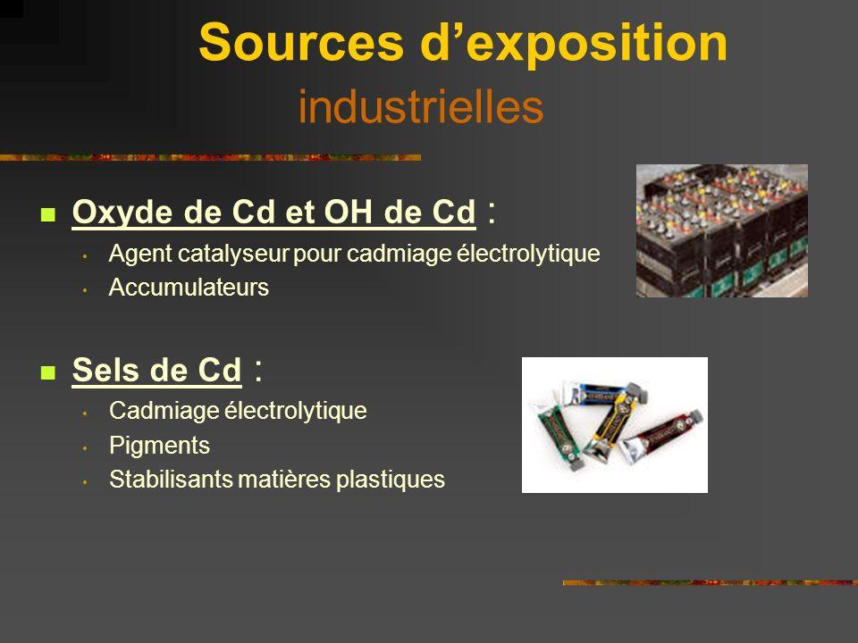 Sources dexposition extra-professionnelles Pollution atmosphérique : surtout dans grandes agglomérations, accumulation dans lichen et mousses (N < 0,001microg/m 3 ) Eau : N < 1 µg/m 3 Aliments : produits de la mer, céréales, produits laitiers, viandes (N = 10 à 30 µg/j) Tabac Tabac : 1 cigarette = 1 µg de Cd