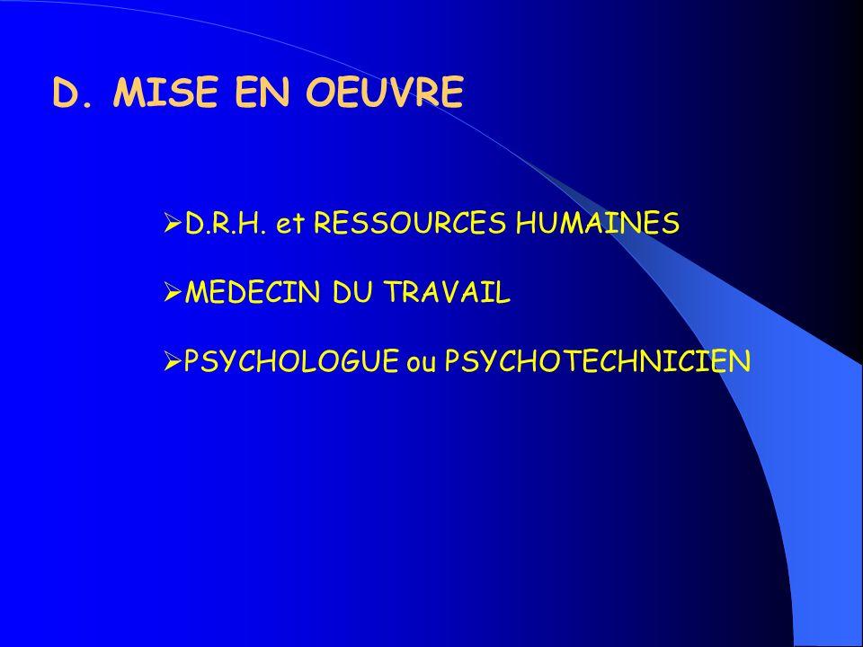 D. MISE EN OEUVRE D.R.H. et RESSOURCES HUMAINES MEDECIN DU TRAVAIL PSYCHOLOGUE ou PSYCHOTECHNICIEN