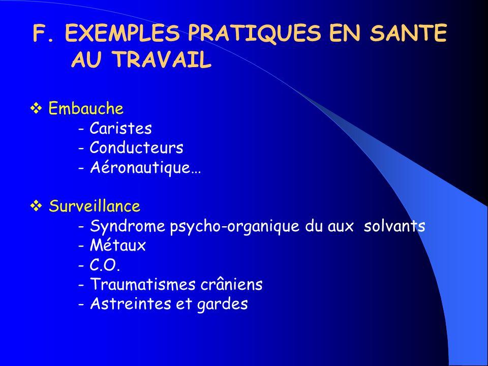 F. EXEMPLES PRATIQUES EN SANTE AU TRAVAIL Embauche - Caristes - Conducteurs - Aéronautique… Surveillance - Syndrome psycho-organique du aux solvants -