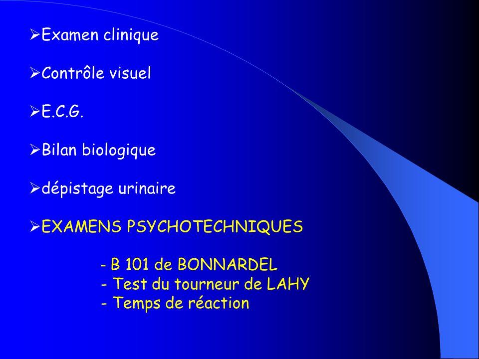 Examen clinique Contrôle visuel E.C.G. Bilan biologique dépistage urinaire EXAMENS PSYCHOTECHNIQUES - B 101 de BONNARDEL - Test du tourneur de LAHY -