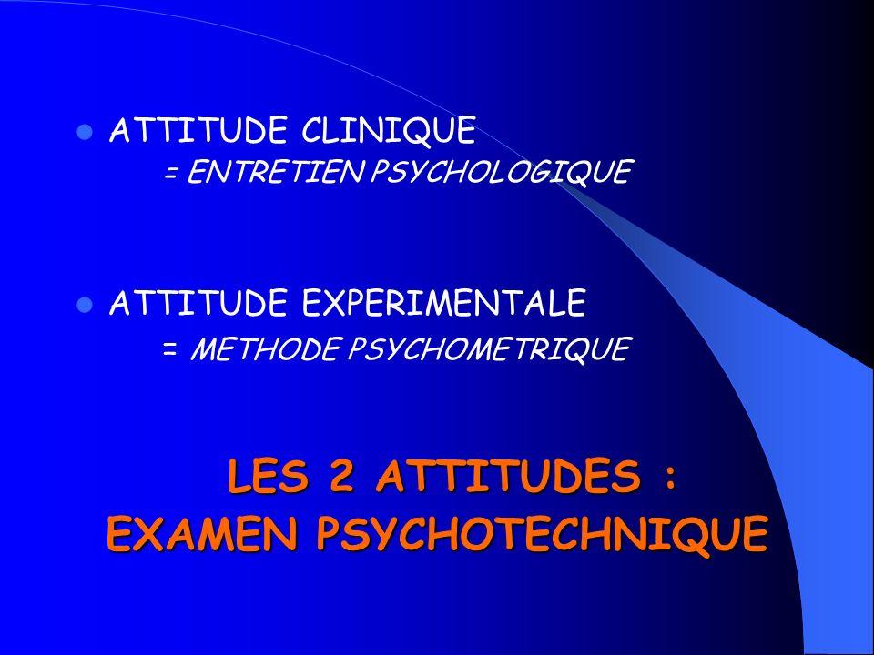 ATTITUDE CLINIQUE = ENTRETIEN PSYCHOLOGIQUE ATTITUDE EXPERIMENTALE = METHODE PSYCHOMETRIQUE LES 2 ATTITUDES : EXAMEN PSYCHOTECHNIQUE