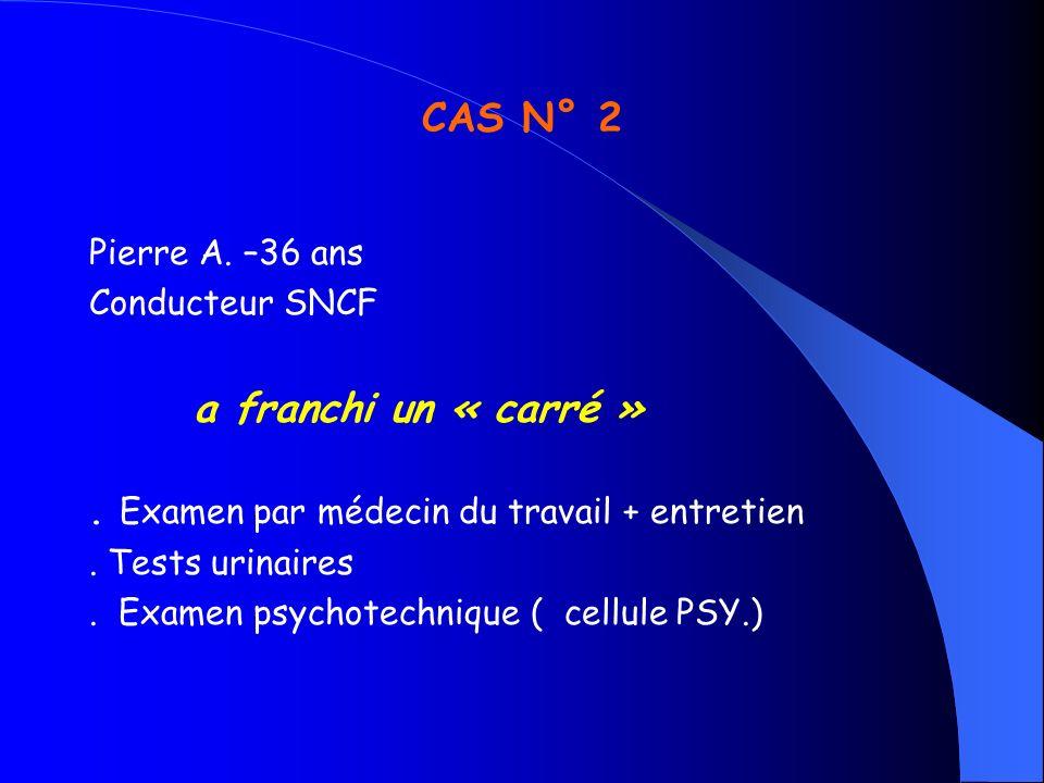 CAS N° 2 Pierre A. –36 ans Conducteur SNCF a franchi un « carré ». Examen par médecin du travail + entretien. Tests urinaires. Examen psychotechnique