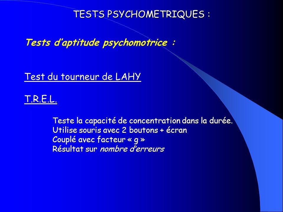 TESTS PSYCHOMETRIQUES : Tests daptitude psychomotrice : Test du tourneur de LAHY T.R.E.L. Teste la capacité de concentration dans la durée. Utilise so