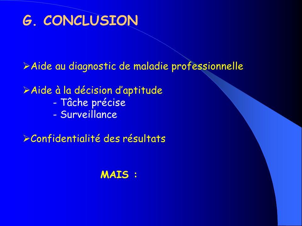 G. CONCLUSION Aide au diagnostic de maladie professionnelle Aide à la décision daptitude - Tâche précise - Surveillance Confidentialité des résultats