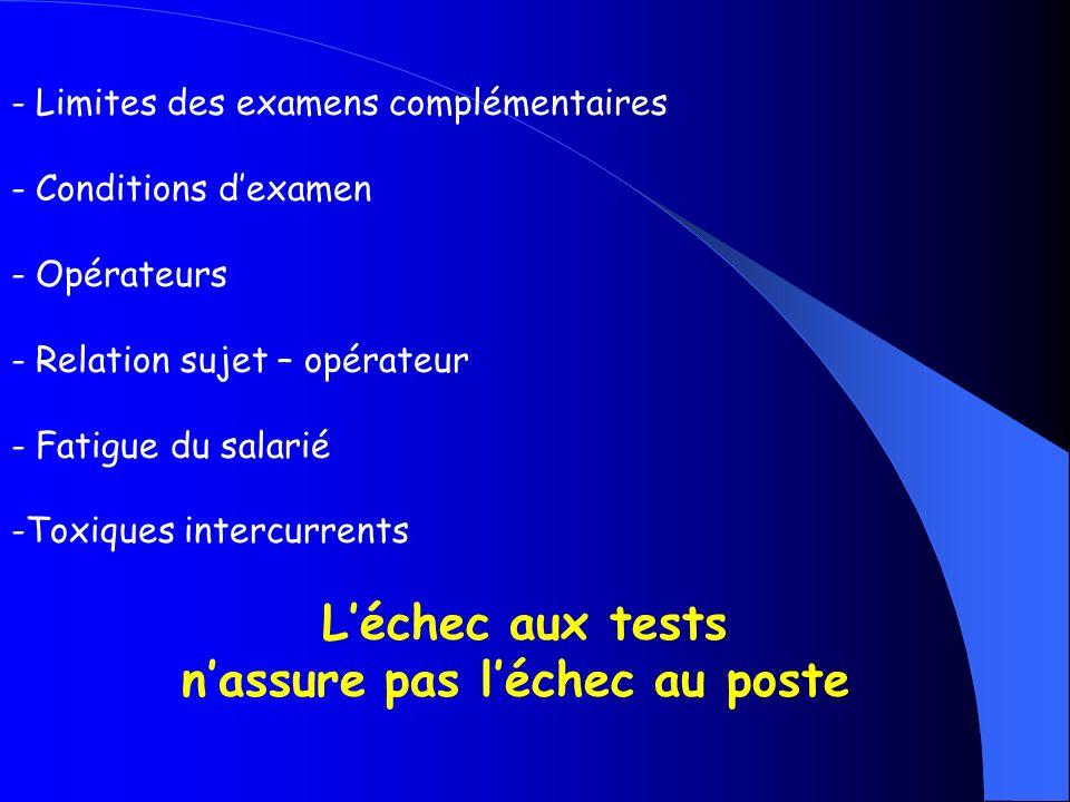 - Limites des examens complémentaires - Conditions dexamen - Opérateurs - Relation sujet – opérateur - Fatigue du salarié -Toxiques intercurrents Léch