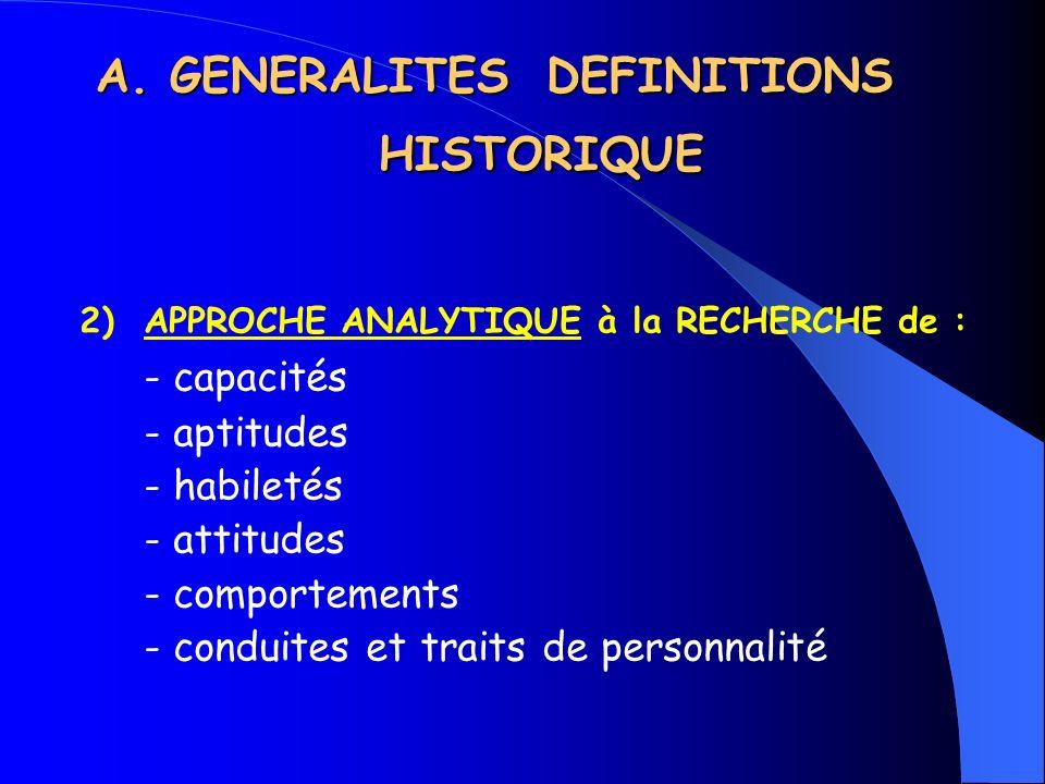 A. GENERALITES DEFINITIONS HISTORIQUE 2) APPROCHE ANALYTIQUE à la RECHERCHE de : - capacités - aptitudes - habiletés - attitudes - comportements - con