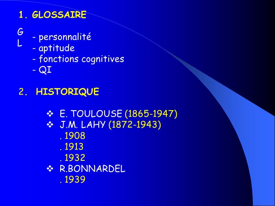 GLGL 1.GLOSSAIRE - personnalité - aptitude - fonctions cognitives - QI 2. HISTORIQUE E. TOULOUSE (1865-1947) J.M. LAHY (1872-1943). 1908. 1913. 1932 R