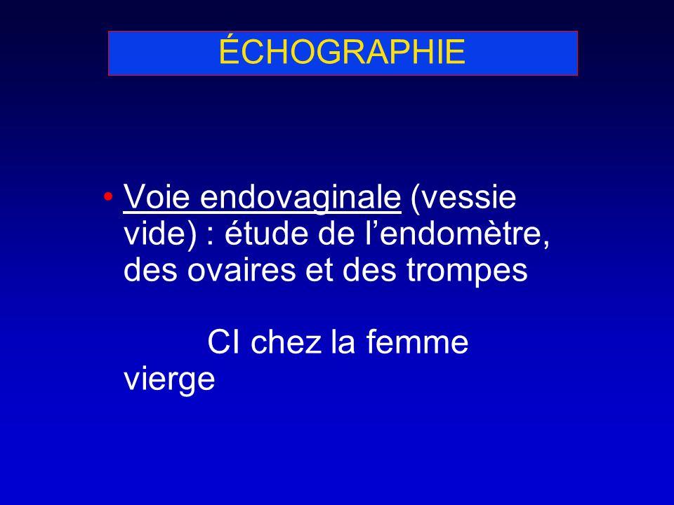 Voie endovaginale (vessie vide) : étude de lendomètre, des ovaires et des trompes CI chez la femme vierge ÉCHOGRAPHIE