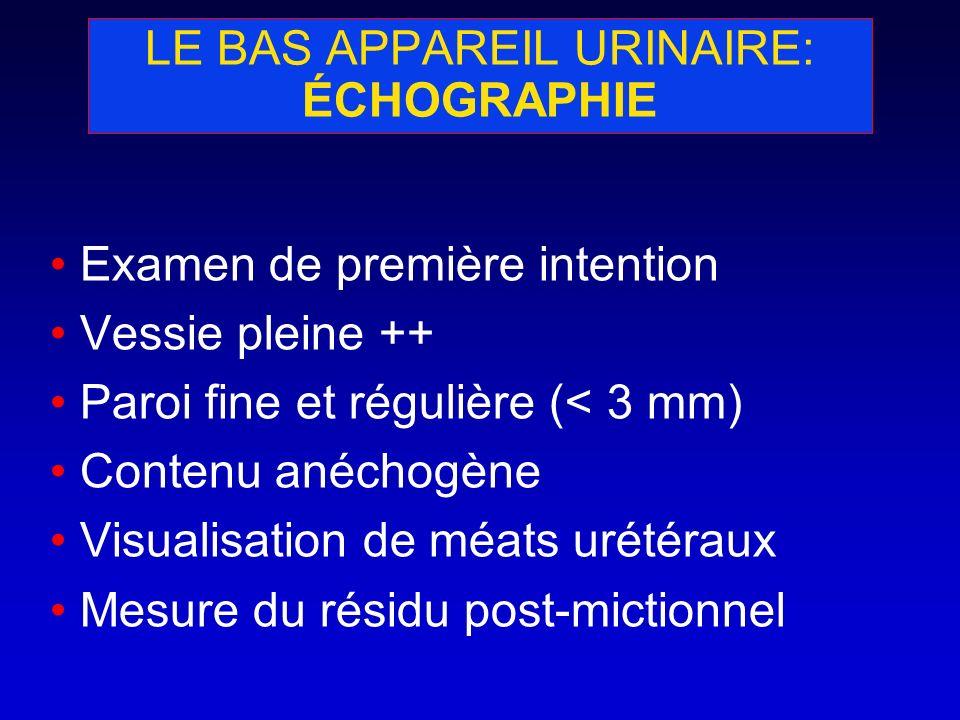 LE BAS APPAREIL URINAIRE: ÉCHOGRAPHIE Examen de première intention Vessie pleine ++ Paroi fine et régulière (< 3 mm) Contenu anéchogène Visualisation