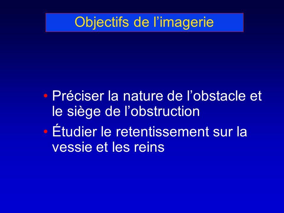 Objectifs de limagerie Préciser la nature de lobstacle et le siège de lobstruction Étudier le retentissement sur la vessie et les reins