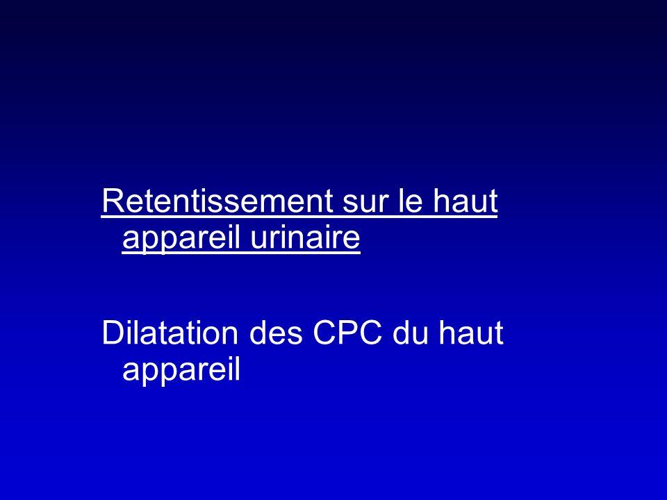 Retentissement sur le haut appareil urinaire Dilatation des CPC du haut appareil