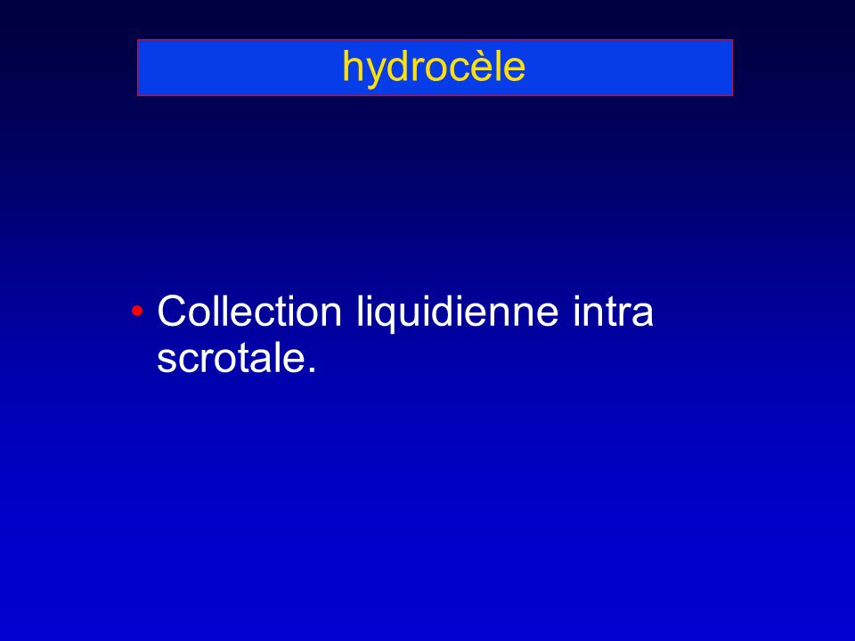hydrocèle Collection liquidienne intra scrotale.