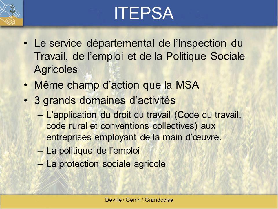 Deville / Genin / Grandcolas ITEPSA Le service départemental de lInspection du Travail, de lemploi et de la Politique Sociale Agricoles Même champ dac