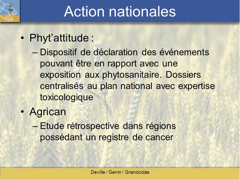 Deville / Genin / Grandcolas Action nationales Phytattitude : –Dispositif de déclaration des événements pouvant être en rapport avec une exposition au