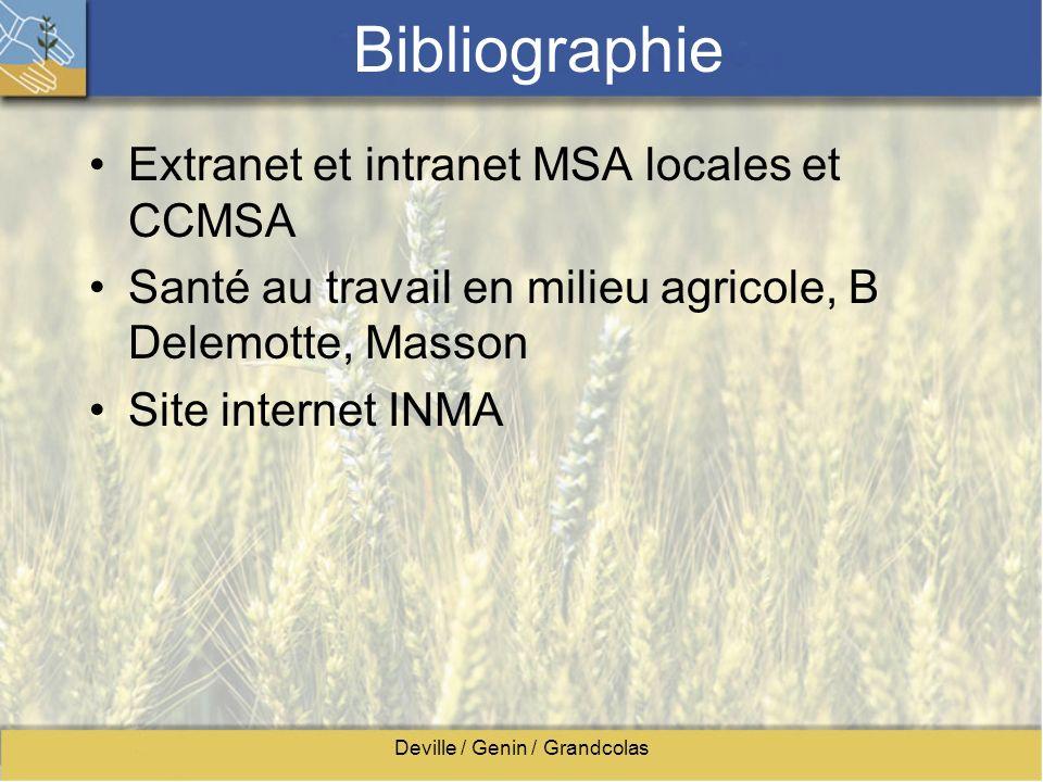 Deville / Genin / Grandcolas Bibliographie Extranet et intranet MSA locales et CCMSA Santé au travail en milieu agricole, B Delemotte, Masson Site int