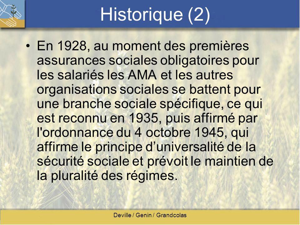 Deville / Genin / Grandcolas Historique (2) En 1928, au moment des premières assurances sociales obligatoires pour les salariés les AMA et les autres