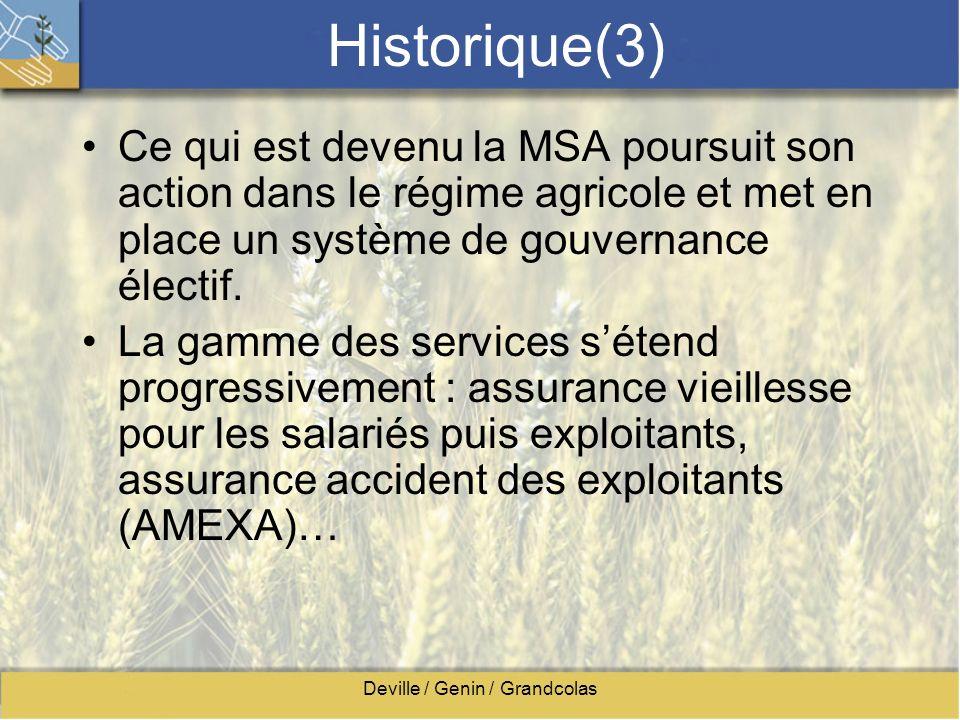 Deville / Genin / Grandcolas Historique(3) Ce qui est devenu la MSA poursuit son action dans le régime agricole et met en place un système de gouverna