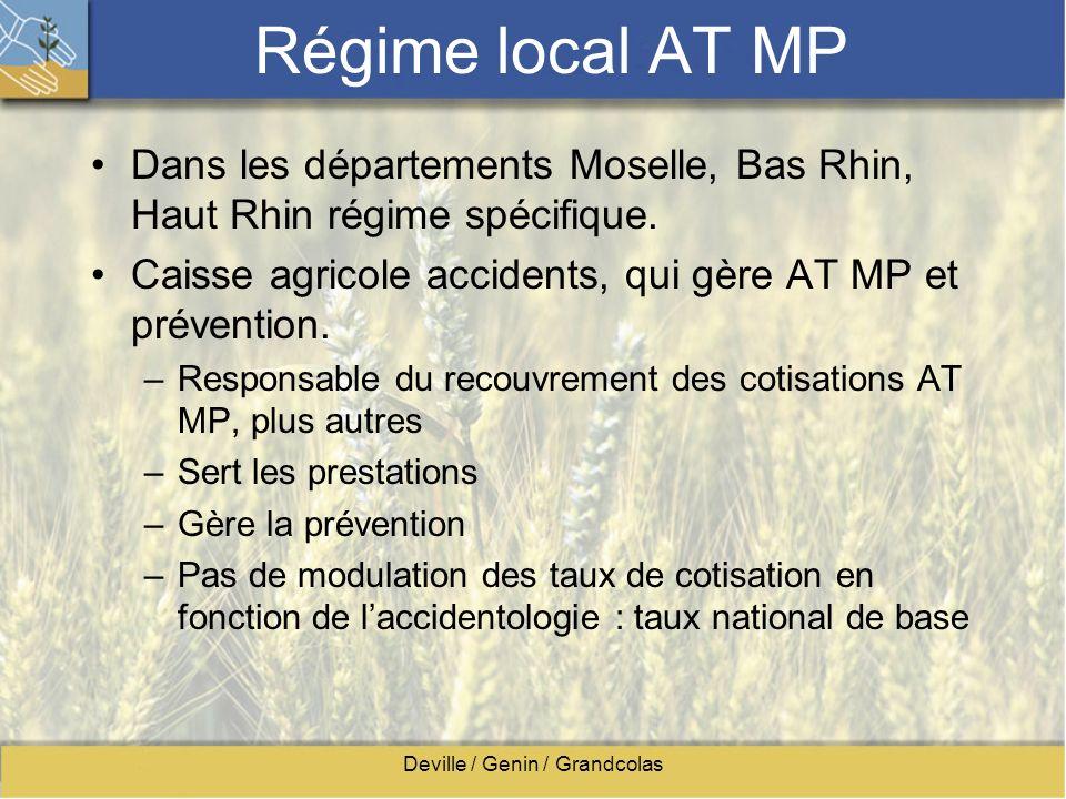 Deville / Genin / Grandcolas Régime local AT MP Dans les départements Moselle, Bas Rhin, Haut Rhin régime spécifique. Caisse agricole accidents, qui g