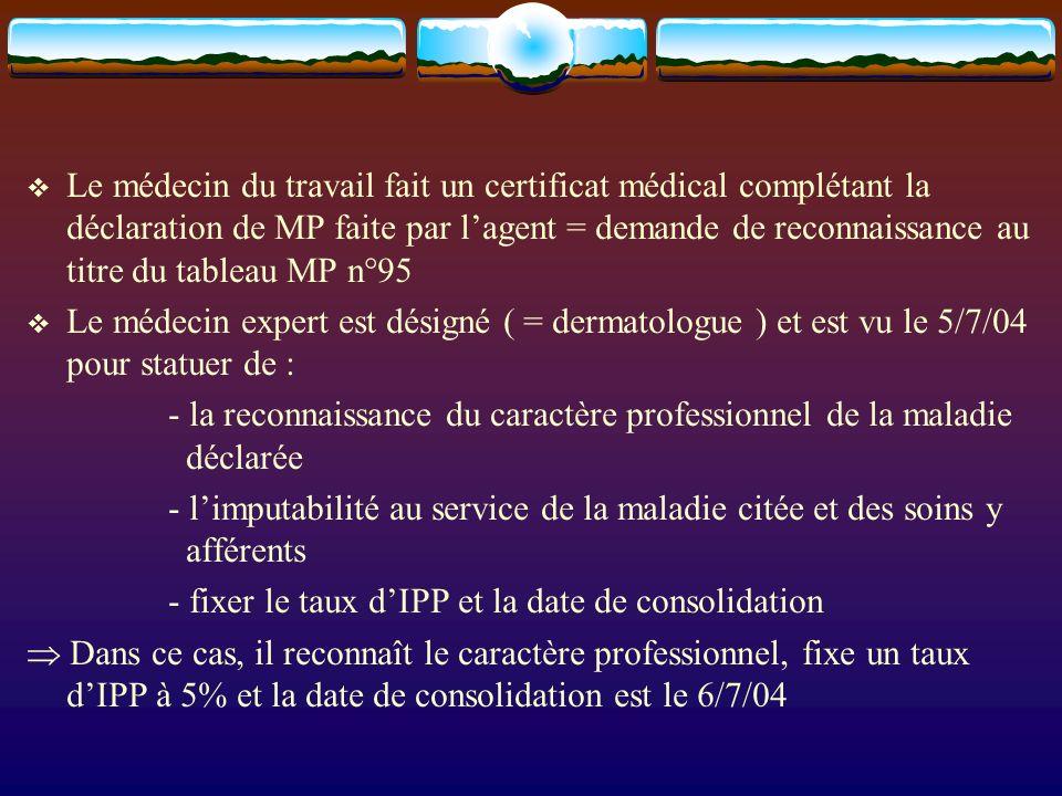 Le médecin du travail fait un certificat médical complétant la déclaration de MP faite par lagent = demande de reconnaissance au titre du tableau MP n