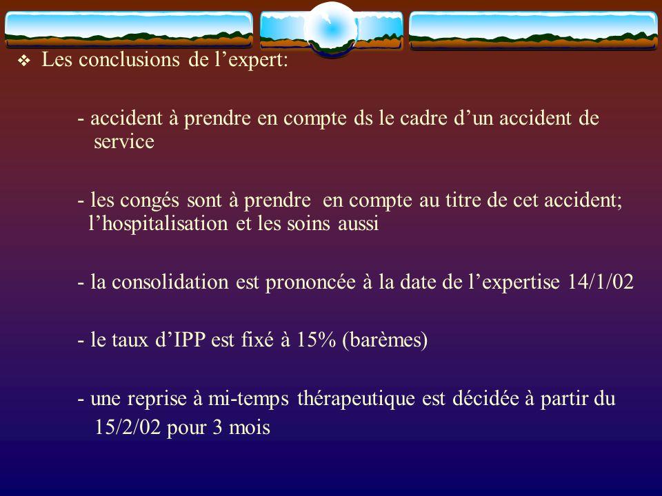 Les conclusions de lexpert: - accident à prendre en compte ds le cadre dun accident de service - les congés sont à prendre en compte au titre de cet accident; lhospitalisation et les soins aussi - la consolidation est prononcée à la date de lexpertise 14/1/02 - le taux dIPP est fixé à 15% (barèmes) - une reprise à mi-temps thérapeutique est décidée à partir du 15/2/02 pour 3 mois