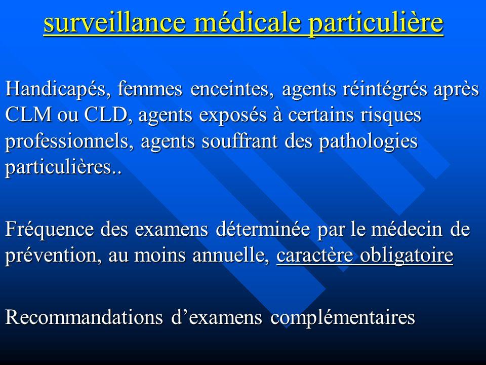 surveillance médicale particulière Handicapés, femmes enceintes, agents réintégrés après CLM ou CLD, agents exposés à certains risques professionnels, agents souffrant des pathologies particulières..