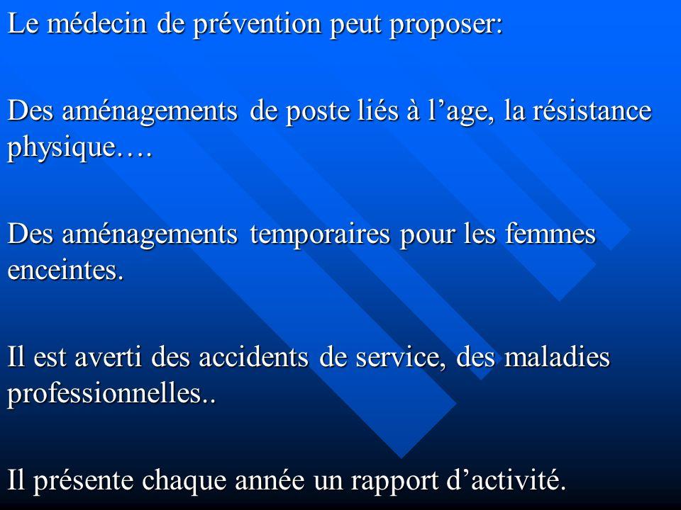 Le médecin de prévention peut proposer: Des aménagements de poste liés à lage, la résistance physique….