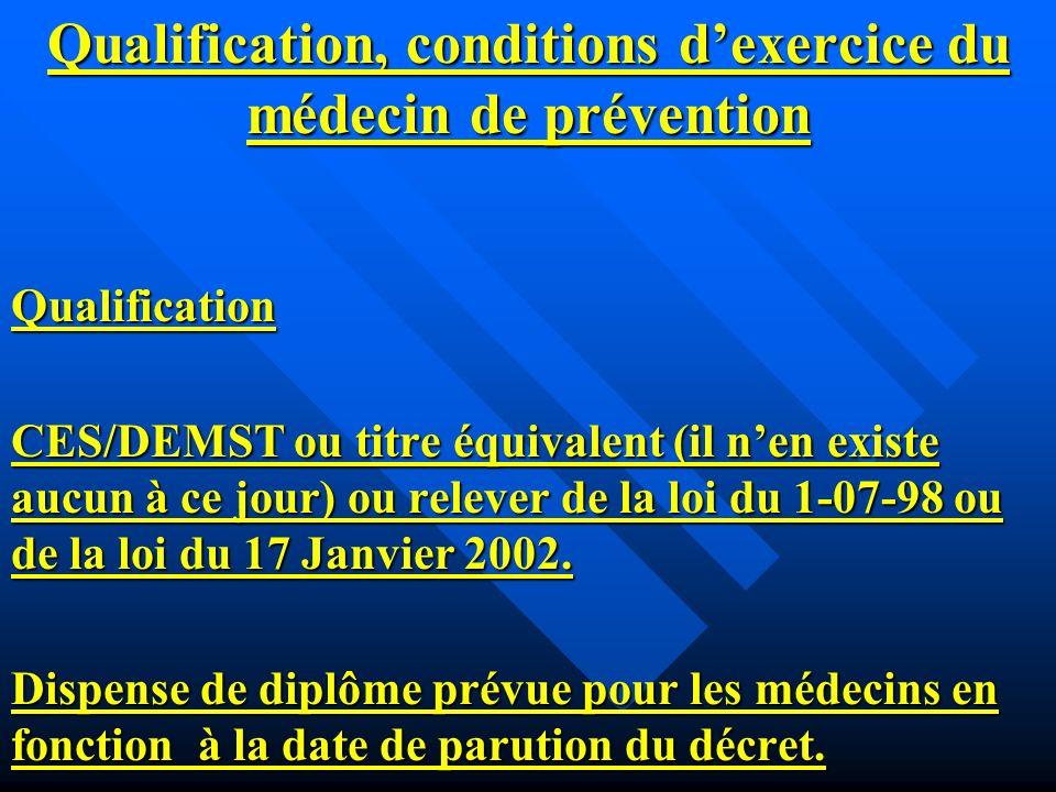 Qualification, conditions dexercice du médecin de prévention Qualification CES/DEMST ou titre équivalent (il nen existe aucun à ce jour) ou relever de la loi du 1-07-98 ou de la loi du 17 Janvier 2002.